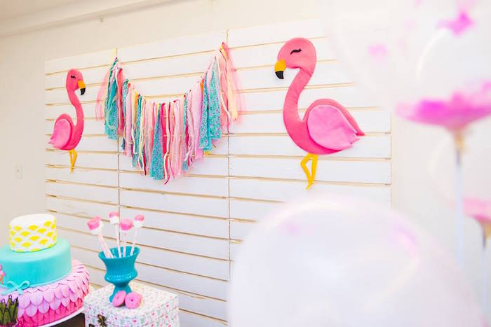 Flamingo backdrop from a Tropical Flamingo Birthday Party on Kara's Party Ideas | KarasPartyIdeas.com (13)