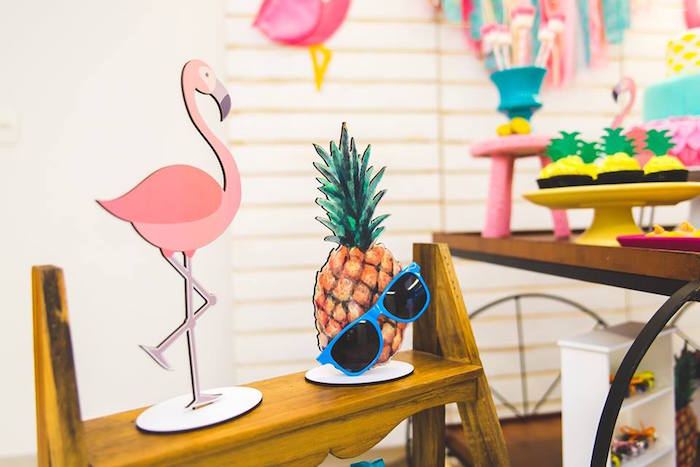 Tropical party standees from a Tropical Flamingo Birthday Party on Kara's Party Ideas | KarasPartyIdeas.com (10)