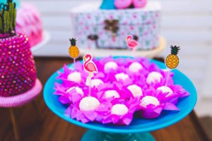Brigadeiros featuring tropical toppers from a Tropical Flamingo Birthday Party on Kara's Party Ideas | KarasPartyIdeas.com (9)