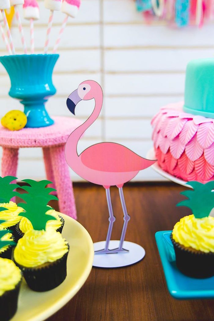 Flamingo standee from a Tropical Flamingo Birthday Party on Kara's Party Ideas | KarasPartyIdeas.com (7)