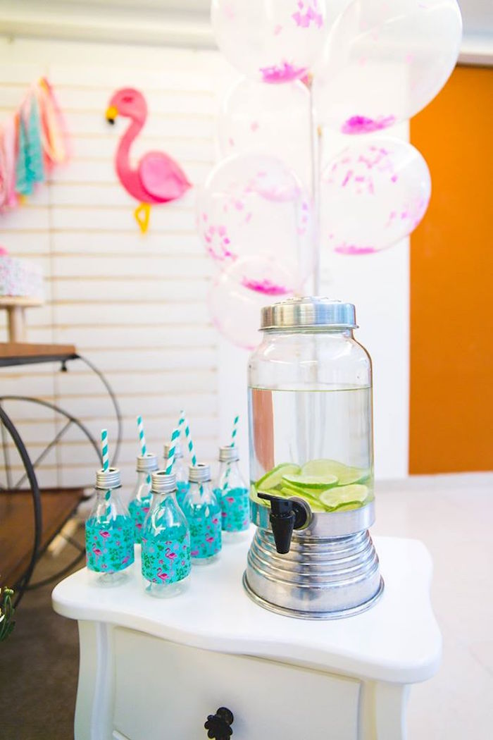 Beverage dispenser from a Tropical Flamingo Birthday Party on Kara's Party Ideas | KarasPartyIdeas.com (6)