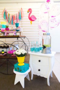 Beverage table from a Tropical Flamingo Birthday Party on Kara's Party Ideas | KarasPartyIdeas.com (5)