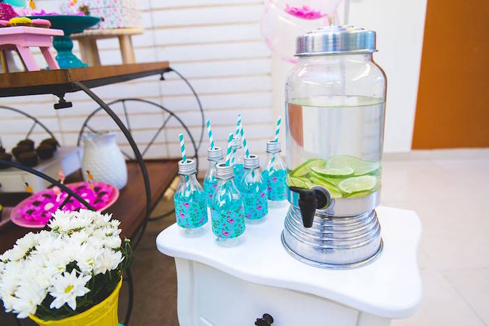 Beverage dispenser + drink bottles from a Tropical Flamingo Birthday Party on Kara's Party Ideas | KarasPartyIdeas.com (26)