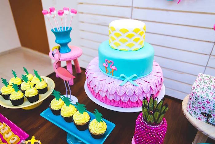 Cakescape from a Tropical Flamingo Birthday Party on Kara's Party Ideas | KarasPartyIdeas.com (25)