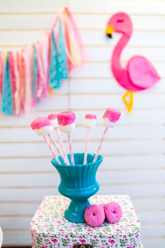 Flamingo-inspired marshmallow pops from a Tropical Flamingo Birthday Party on Kara's Party Ideas | KarasPartyIdeas.com (24)