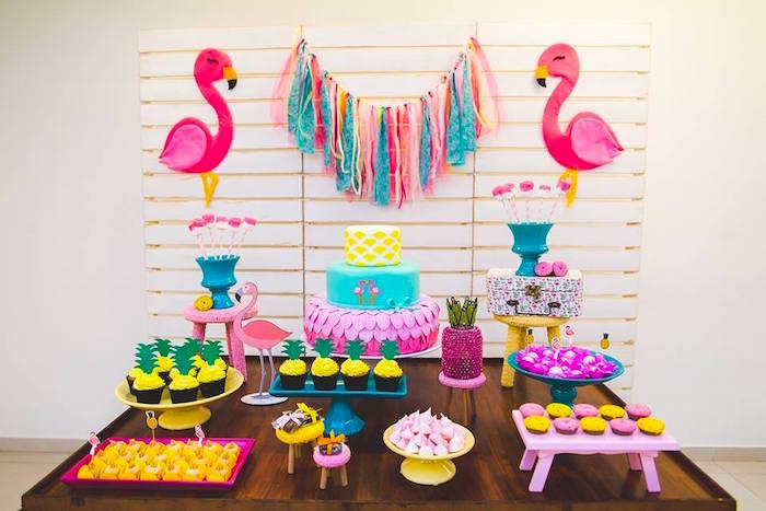 Dessert spread from a Tropical Flamingo Birthday Party on Kara's Party Ideas | KarasPartyIdeas.com (23)
