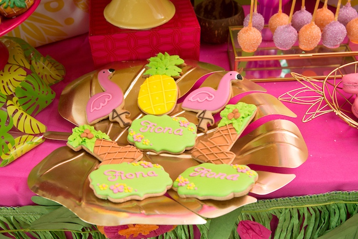 Tropical sugar cookies from a Tropical Flamingo Paradise Birthday Party on Kara's Party Ideas | KarasPartyIdeas.com (20)
