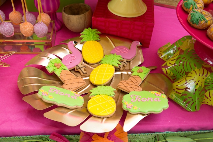 Tropical sugar cookies from a Tropical Flamingo Paradise Birthday Party on Kara's Party Ideas | KarasPartyIdeas.com (19)