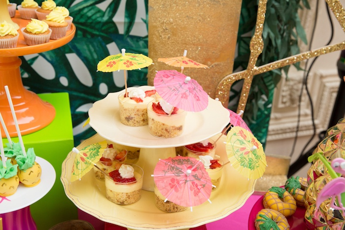 Dessert cups topped with paper umbrellas from a Tropical Flamingo Paradise Birthday Party on Kara's Party Ideas | KarasPartyIdeas.com (17)