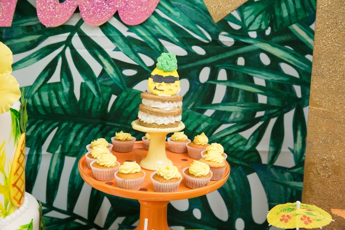 Stacked cookie & cupcakes from a Tropical Flamingo Paradise Birthday Party on Kara's Party Ideas | KarasPartyIdeas.com (16)