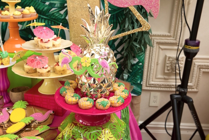 Pineapple macarons from a Tropical Flamingo Paradise Birthday Party on Kara's Party Ideas | KarasPartyIdeas.com (15)