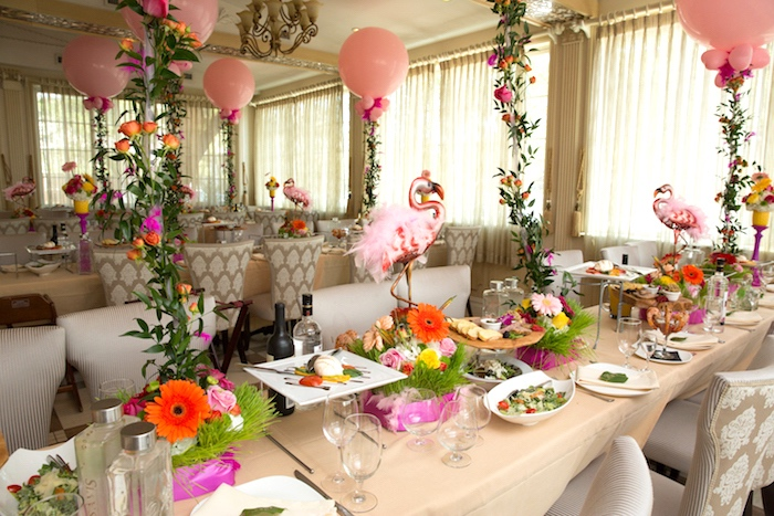 Guest tablescape from a Tropical Flamingo Paradise Birthday Party on Kara's Party Ideas | KarasPartyIdeas.com (12)