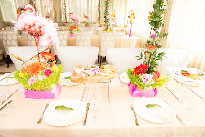 Guest tablescape from a Tropical Flamingo Paradise Birthday Party on Kara's Party Ideas | KarasPartyIdeas.com (29)