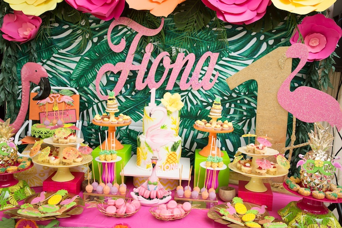 Dessert Table From A Tropical Flamingo Paradise Birthday Party On Karas Ideas