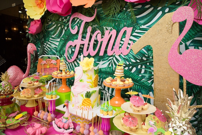 Cakescape from a Tropical Flamingo Paradise Birthday Party on Kara's Party Ideas | KarasPartyIdeas.com (7)