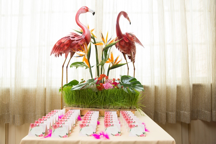 Flamingo decorations + seating chart cards from a Tropical Flamingo Paradise Birthday Party on Kara's Party Ideas | KarasPartyIdeas.com (28)