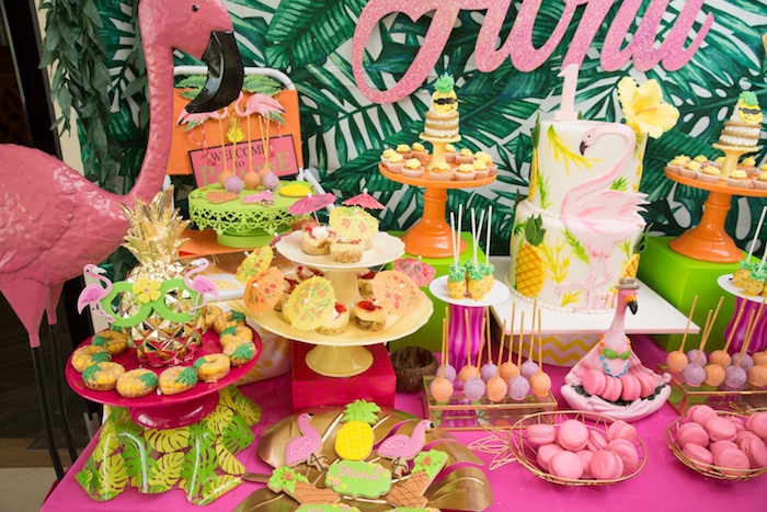 Dessert table detail from a Tropical Flamingo Paradise Birthday Party on Kara's Party Ideas | KarasPartyIdeas.com (23)