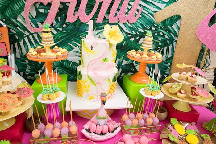 Flamingo cake and sweets from a Tropical Flamingo Paradise Birthday Party on Kara's Party Ideas | KarasPartyIdeas.com (22)