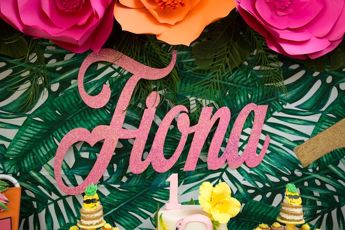Pink glitter lettering from a Tropical Flamingo Paradise Birthday Party on Kara's Party Ideas | KarasPartyIdeas.com (21)