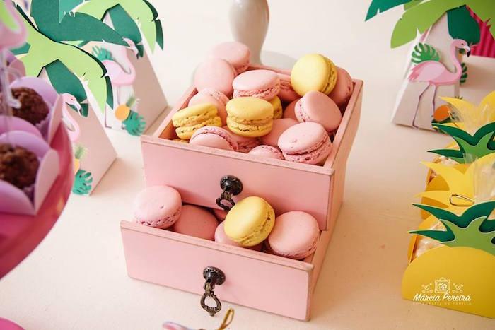 Macarons from a Tropical Flamingo Pool Party on Kara's Party Ideas | KarasPartyIdeas.com (20)