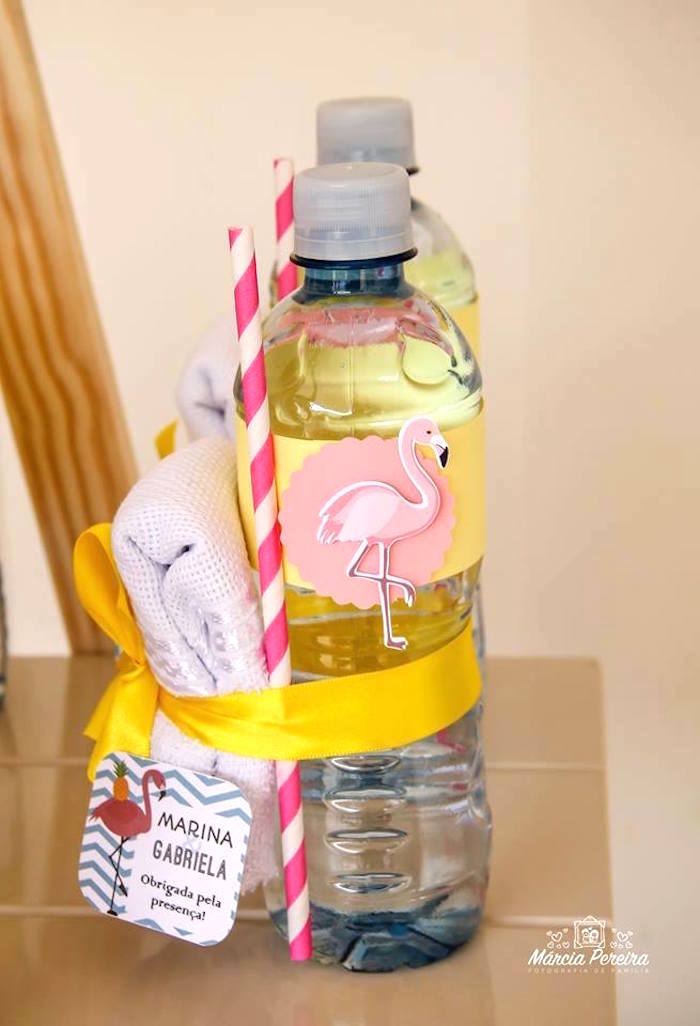 Water bottle from a Tropical Flamingo Pool Party on Kara's Party Ideas | KarasPartyIdeas.com (19)