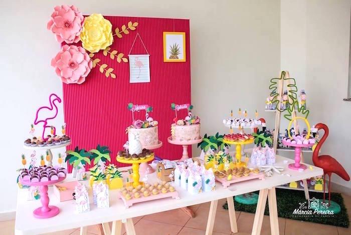 Dessert table from a Tropical Flamingo Pool Party on Kara's Party Ideas | KarasPartyIdeas.com (18)