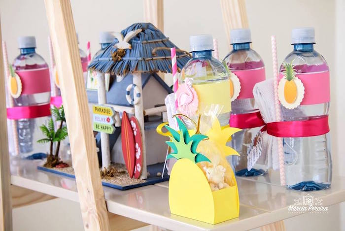 Water bottles from a Tropical Flamingo Pool Party on Kara's Party Ideas | KarasPartyIdeas.com (17)