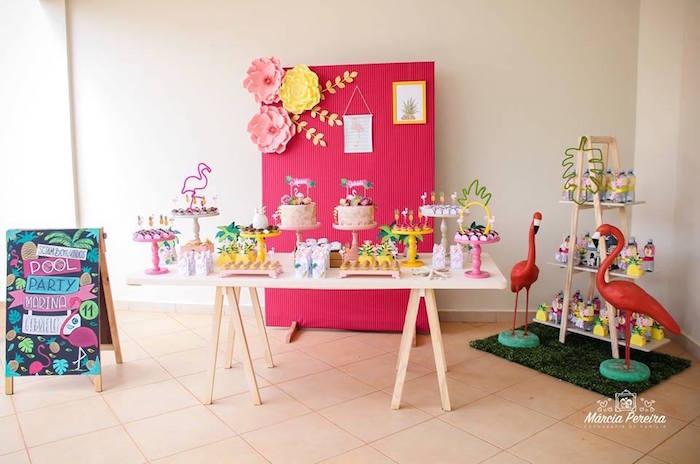 Tropical Flamingo Pool Party on Kara's Party Ideas | KarasPartyIdeas.com (16)