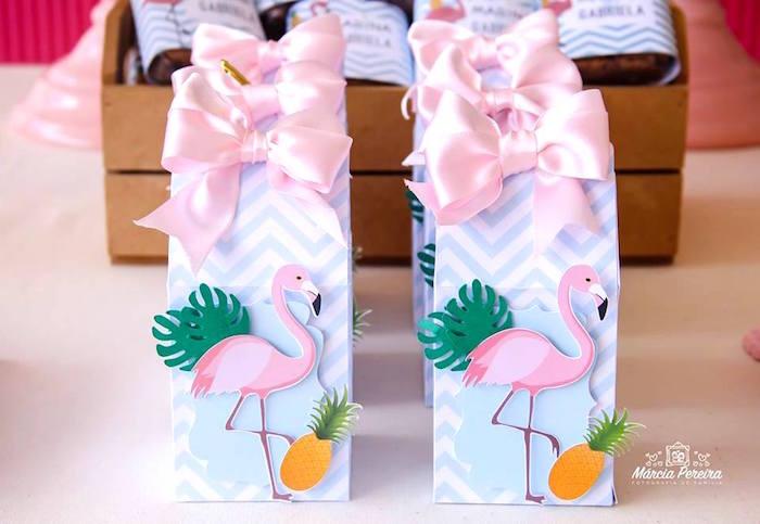 Flamingo boxes from a Tropical Flamingo Pool Party on Kara's Party Ideas | KarasPartyIdeas.com (14)