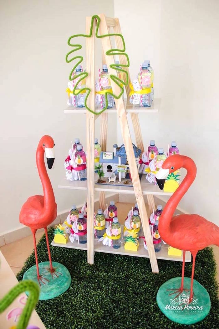 Flamingos and favors from a Tropical Flamingo Pool Party on Kara's Party Ideas | KarasPartyIdeas.com (13)