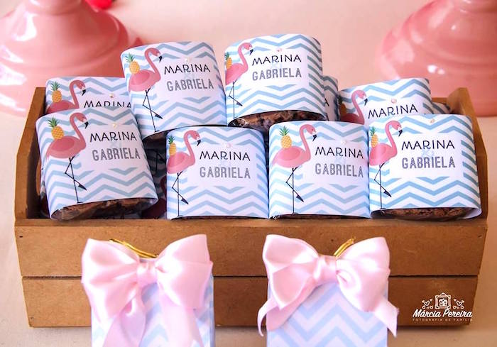 Custom candy/sweet wrappers from a Tropical Flamingo Pool Party on Kara's Party Ideas | KarasPartyIdeas.com (29)