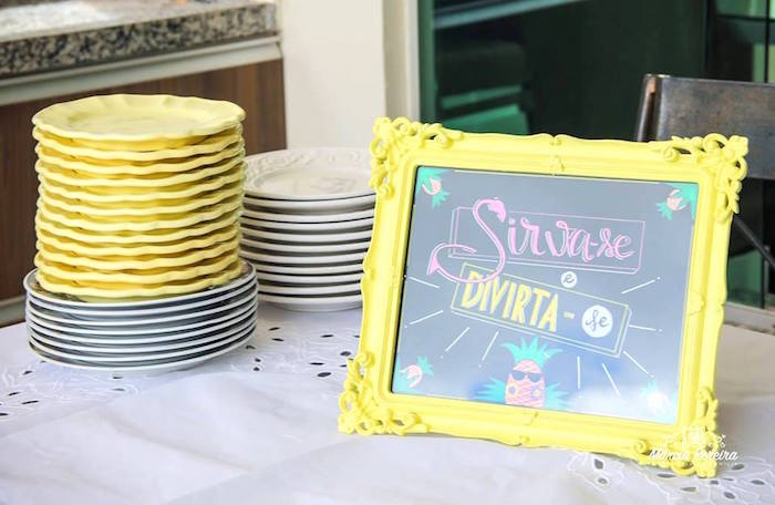 Yellow plates + chalkboard sign from a Tropical Flamingo Pool Party on Kara's Party Ideas | KarasPartyIdeas.com (10)