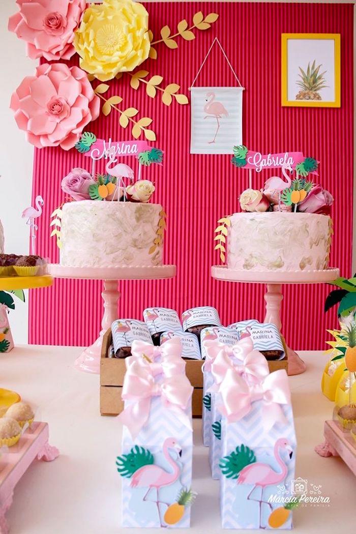 Cakes from a Tropical Flamingo Pool Party on Kara's Party Ideas | KarasPartyIdeas.com (8)