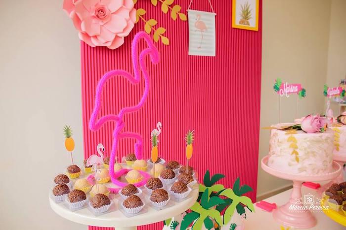 Flamingo frame from a Tropical Flamingo Pool Party on Kara's Party Ideas | KarasPartyIdeas.com (6)