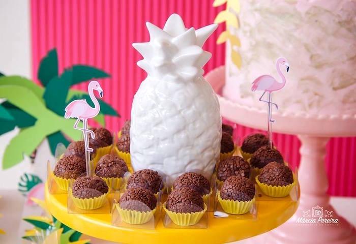 Ceramic pineapple from a Tropical Flamingo Pool Party on Kara's Party Ideas | KarasPartyIdeas.com (28)