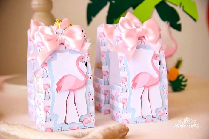 Flamingo boxes tied with bows from a Tropical Flamingo Pool Party on Kara's Party Ideas | KarasPartyIdeas.com (27)