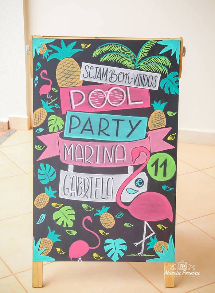 Chalkboard party sign from a Tropical Flamingo Pool Party on Kara's Party Ideas | KarasPartyIdeas.com (26)
