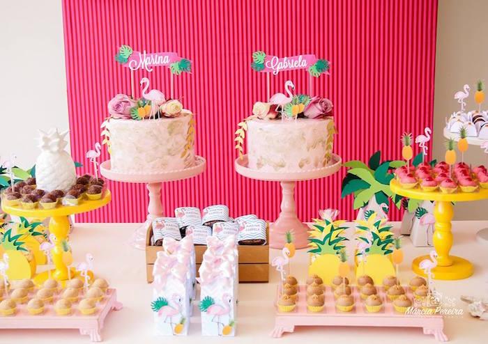 Cakescape from a Tropical Flamingo Pool Party on Kara's Party Ideas | KarasPartyIdeas.com (24)