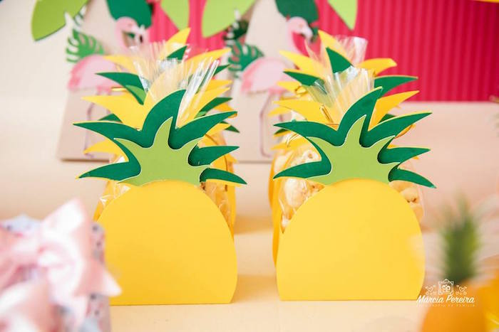 Pineapple boxes from a Tropical Flamingo Pool Party on Kara's Party Ideas | KarasPartyIdeas.com (21)