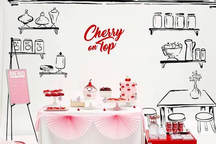 kara u0026 39 s party ideas cherry shop dessert table from a  u201ccherry on top u201d soda shop birthday party via