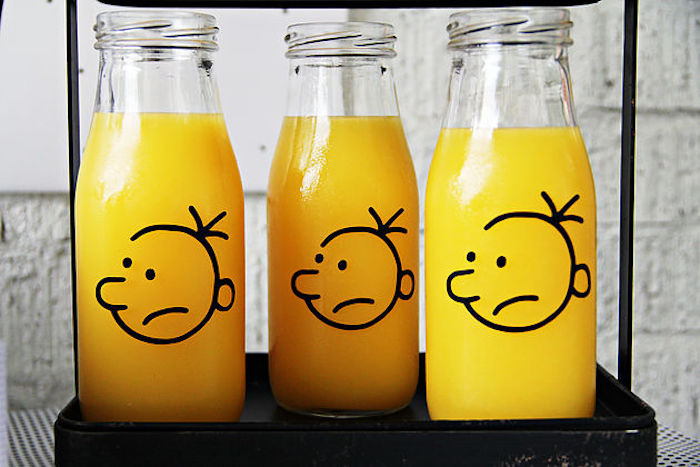 "Wimpy Kid drink bottles from a ""Diary of a Wimpy Kid"" Party on KARA'S PARTY IDEAS 