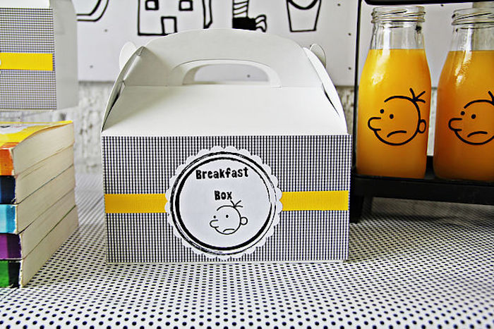 "Breakfast box from a ""Diary of a Wimpy Kid"" Party on KARA'S PARTY IDEAS 