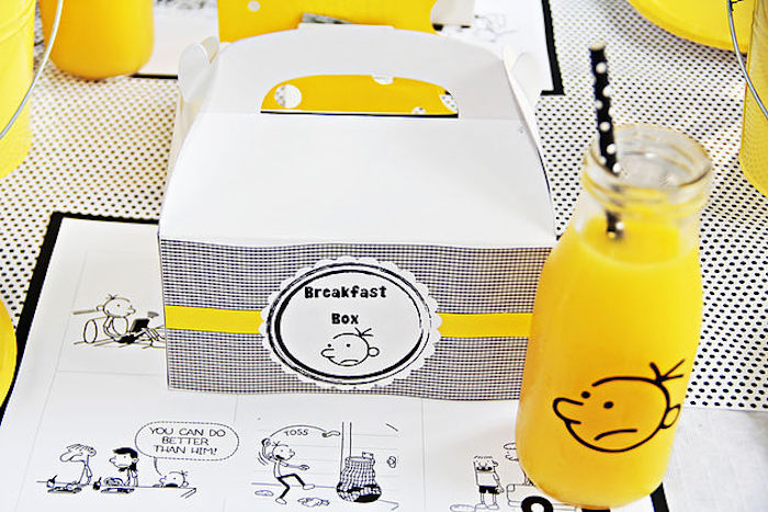 "Breakfast box + place setting from a ""Diary of a Wimpy Kid"" Party on KARA'S PARTY IDEAS 