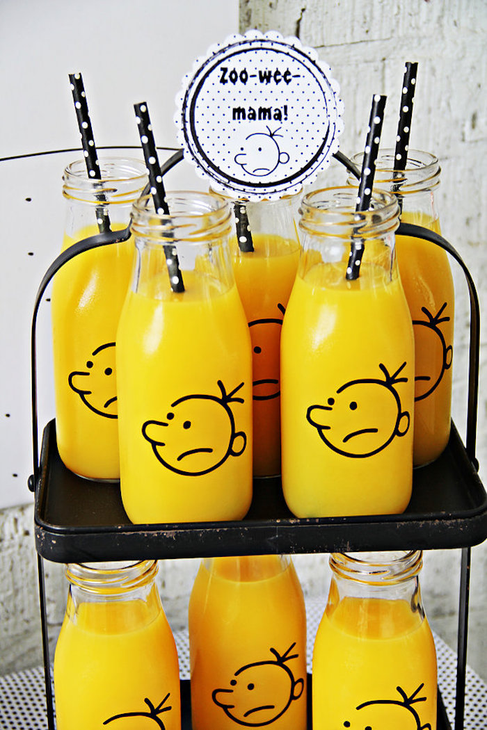 "Wimpy Kid drinks from a ""Diary of a Wimpy Kid"" Party on KARA'S PARTY IDEAS 
