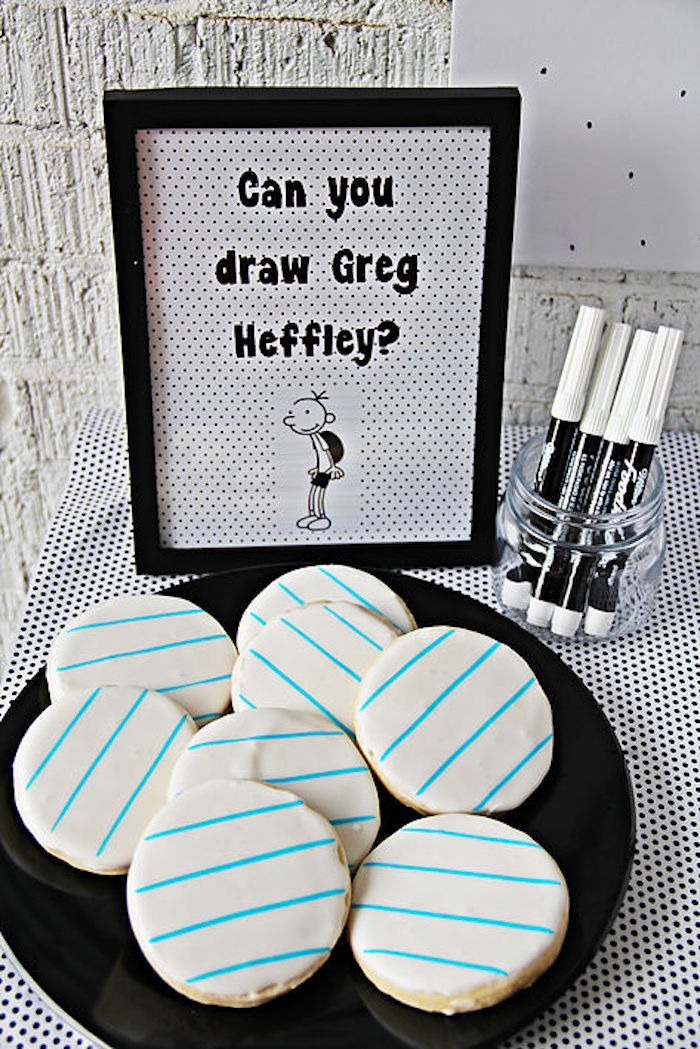 "Lined paper cookies and edible ink markers from a ""Diary of a Wimpy Kid"" Party on KARA'S PARTY IDEAS 