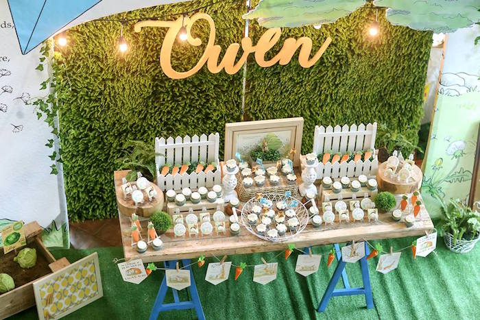 "Dessert table from a ""Guess How Much I Love You?"" Baptism Party on Kara's Party Ideas 