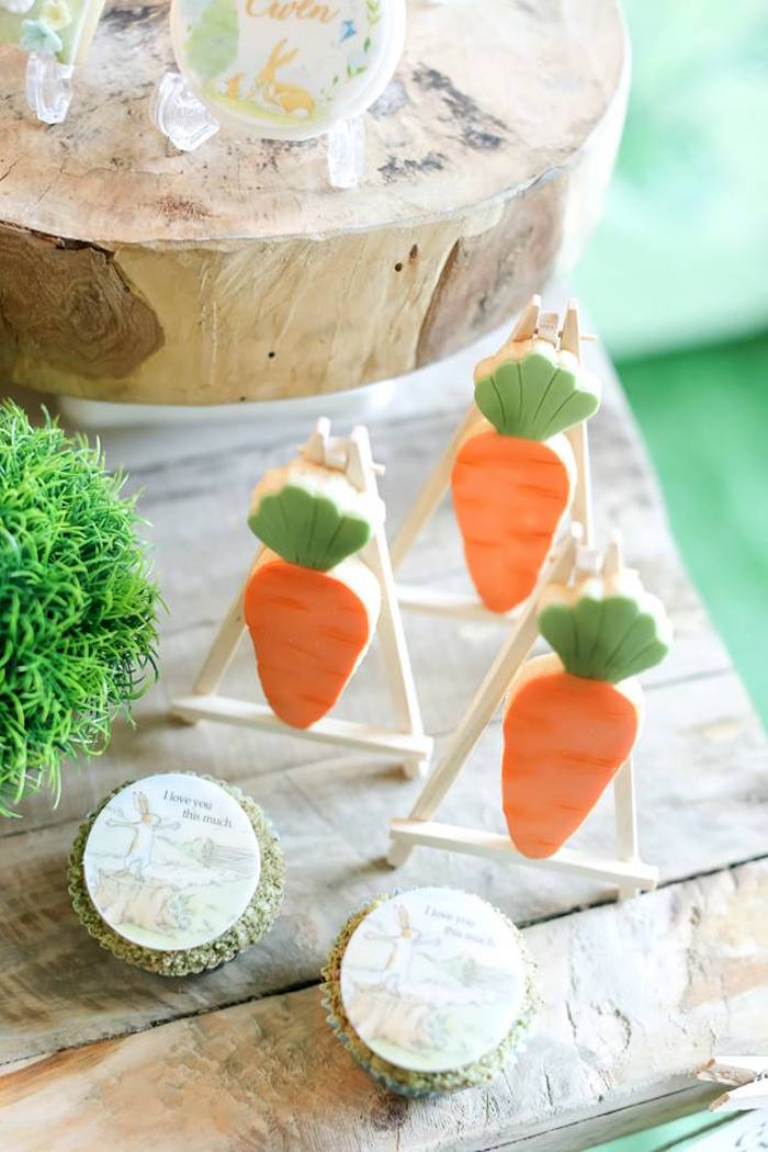 "Carrot cookies from a ""Guess How Much I Love You?"" Baptism Party on Kara's Party Ideas 