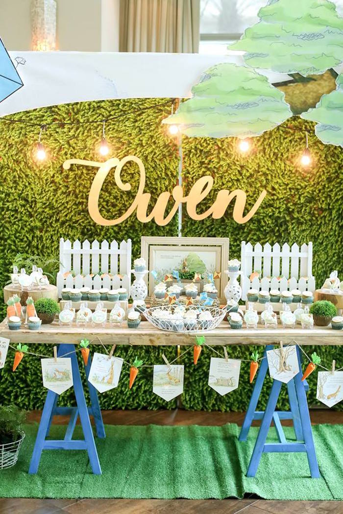 "Sweet table from a ""Guess How Much I Love You?"" Baptism Party on Kara's Party Ideas 