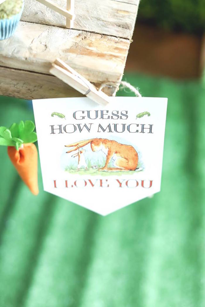 "Banner from a ""Guess How Much I Love You?"" Baptism Party on Kara's Party Ideas 