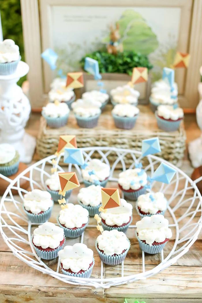 "Kite in the clouds cupcakes from a ""Guess How Much I Love You?"" Baptism Party on Kara's Party Ideas 